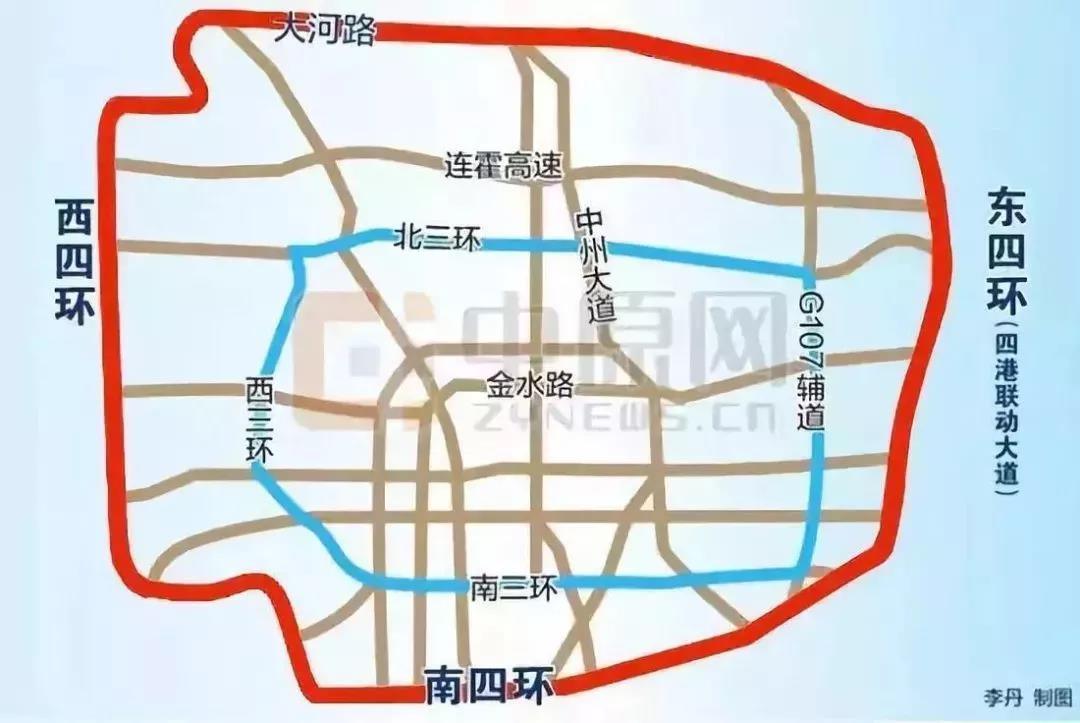 2019年郑州单又号限行区位图